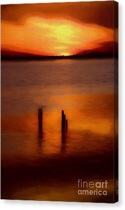 Sunset Over Currituck Sound Ap Canvas Print by Dan Carmichael