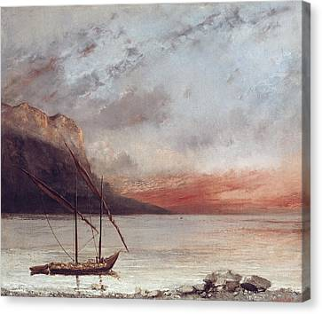 Sunset Over Lake Leman Canvas Print by Gustave Courbet