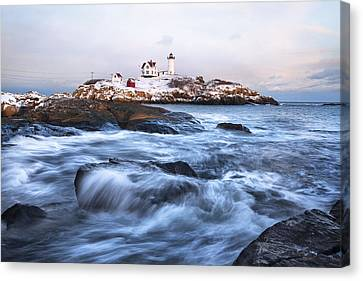 Sunset Over Nubble Light Canvas Print by Eric Gendron
