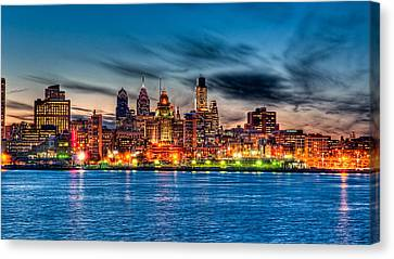 Sunset Over Philadelphia Canvas Print by Louis Dallara
