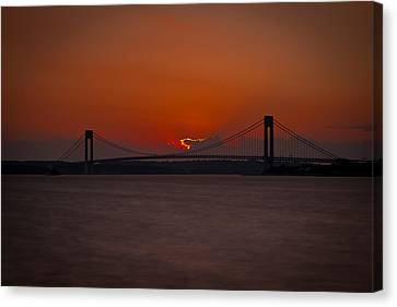 Sunset Over Staten Island Canvas Print by David Hahn