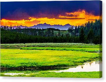 Sunset Over The Bitterroots Canvas Print by TL  Mair