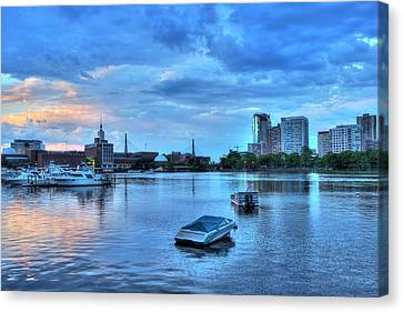 Sunset Over The Charles River And The Museum Of Science - Boston Canvas Print by Joann Vitali