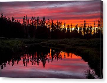 Sunset Over The Stillwater Canvas Print by TL  Mair