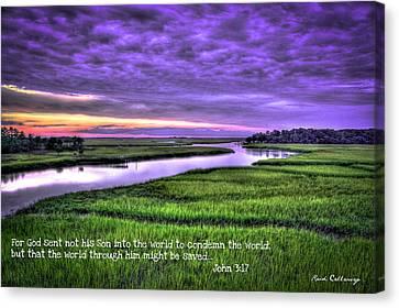 Sunset Over Turners Creek John 3 17 Canvas Print by Reid Callaway