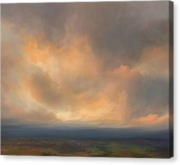 Sunset Over Valley Canvas Print by Lonnie Christopher