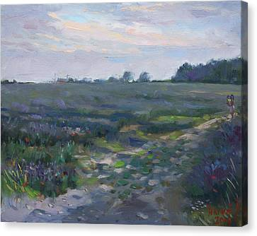 Sunset Over The Field Canvas Print by Ylli Haruni