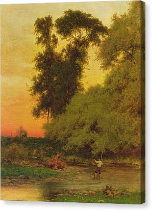 Sunset, Pompton, New Jersey Canvas Print by George Inness Snr