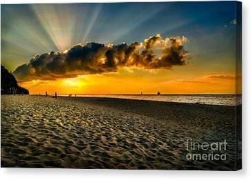 Sunset Puka Beach Canvas Print by Adrian Evans