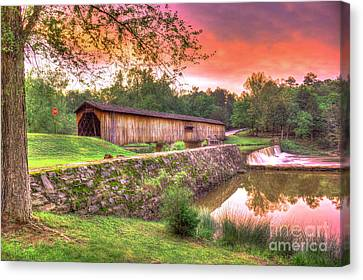 Sunset Reflections Watson Mill Covered Bridge Canvas Print by Reid Callaway