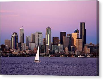 Sunset Sail In Puget Sound Canvas Print by Adam Romanowicz