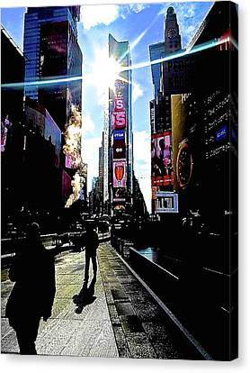 Sunshine In Times Square Canvas Print by Funk