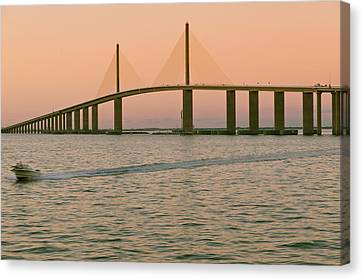Sunshine Skyway Bridge Canvas Print by Ixefra