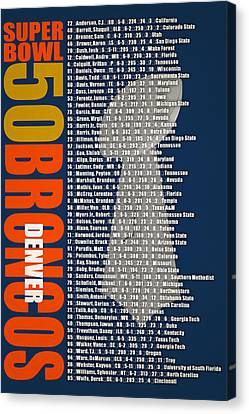 Super Bowl 50 Denver Broncos Roster Canvas Print by Joe Hamilton