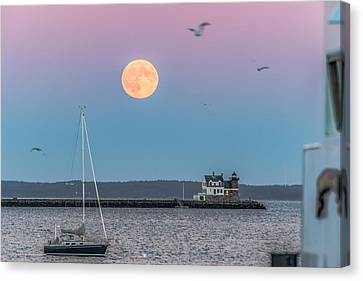 Super Harvest Moon Over Rockland Breakwater Canvas Print by Tim Sullivan