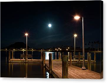 Super Moonset Pier Canvas Print by David Whitten