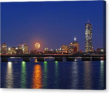 Super Moon Over Boston Canvas Print by Juergen Roth