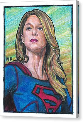 Supergirl As Portrayed By Actress Melissa Benoit Canvas Print by Neil Feigeles