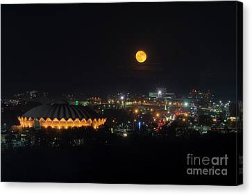 Supermoon Over Morgantown On Evansdale Campus Canvas Print by Dan Friend