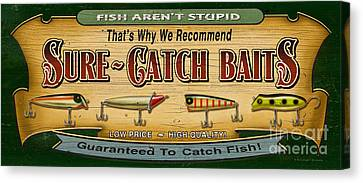 Sure Catch Baits Sign Canvas Print by Jon Q Wright