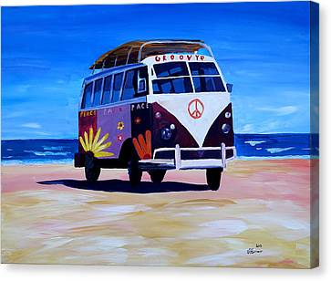 Surf Bus Series - The Groovy Peace Vw Bus Canvas Print by M Bleichner