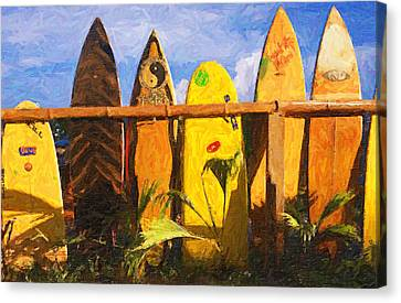 Surfboard Garden Canvas Print by Ron Regalado