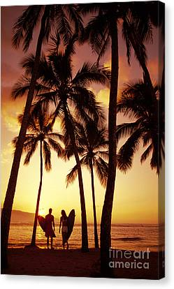 Surfer Couple Canvas Print by Dana Edmunds - Printscapes