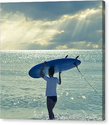 Surfer Girl Square Canvas Print by Laura Fasulo