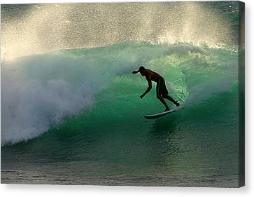 Surfer Surfing Blue Waves At Dumps Maui Hawaii Canvas Print by Pierre Leclerc Photography