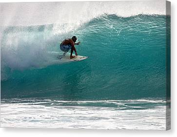 Surfer Surfing In The Tube Of Blue Waves At Dumps Maui Hawaii Canvas Print by Pierre Leclerc Photography