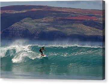 Surfer Surfing The Blue Waves At Dumps Maui Hawaii Canvas Print by Pierre Leclerc Photography