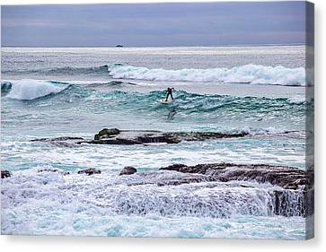 Surfin The Reef Canvas Print by Peter Tellone