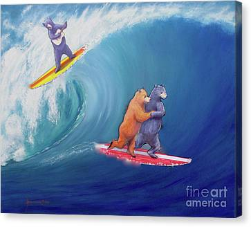 Surfing Bears Canvas Print by Jerome Stumphauzer