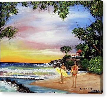 Surfing In Rincon Canvas Print by Luis F Rodriguez