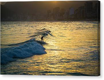 Surfing In Rio Canvas Print by Lana Enderle
