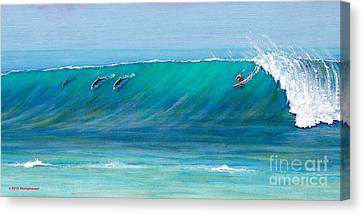 Surfing With Dolphins Canvas Print by Jerome Stumphauzer