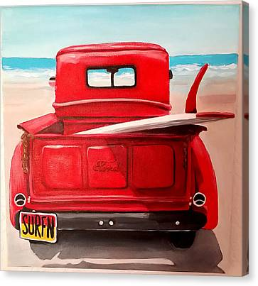 Surfn Canvas Print by Debbie Brown