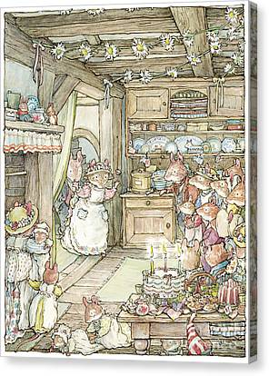 Surprise At Mayblossom Cottage Canvas Print by Brambly Hedge