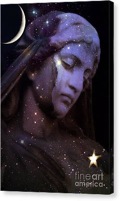 Surreal Celestial Angelic Face With Stars And Moon - Purple Moon Celestial Angel  Canvas Print by Kathy Fornal