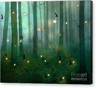 Surreal Dreamy Fantasy Nature Fairy Lights Woodlands Nature - Fairytale Fantasy Forest Woodlands  Canvas Print by Kathy Fornal