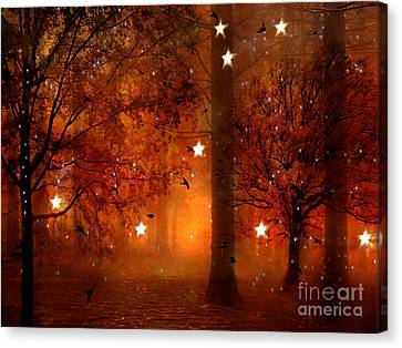 Surreal Fantasy Autumn Woodlands Starry Night Canvas Print by Kathy Fornal