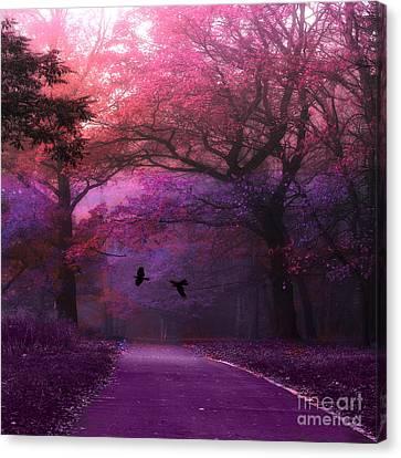Surreal Fantasy Dark Pink Purple Nature Woodlands Flying Ravens  Canvas Print by Kathy Fornal