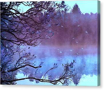 Surreal Fantasy Purple Fall Autumn Nature Scene Canvas Print by Kathy Fornal