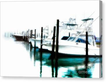 Surreal Fishing Boats In Outer Banks Marina Ap Canvas Print by Dan Carmichael