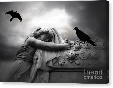 Surreal Gothic Cemetery Angel Mourning Figure With Black Ravens  Canvas Print by Kathy Fornal