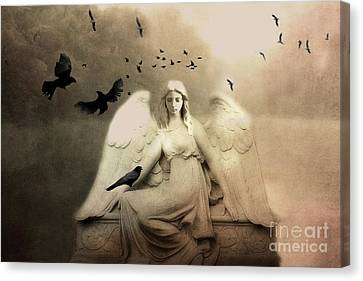Surreal Gothic Cemetery Angel With Flying Ravens - Ethereal Surreal Gothic Angel Art Canvas Print by Kathy Fornal
