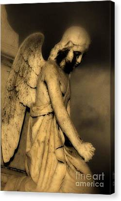 Surreal Gothic Dark Cemetery Angel With Black Face Canvas Print by Kathy Fornal