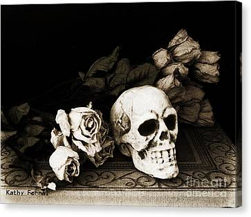 Surreal Gothic Dark Sepia Roses And Skull  Canvas Print by Kathy Fornal