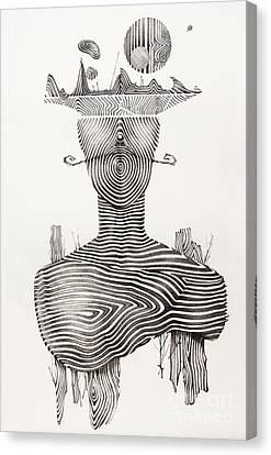Surreal Hand Drawing, Portrait Decorative Artwork  - Cebanenco Stanislav Canvas Print by Cebanenco Stanislav