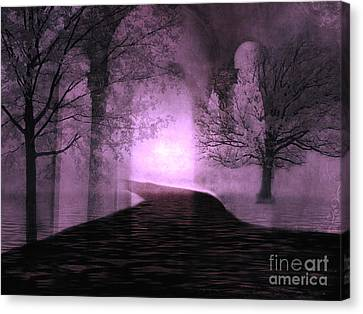 Surreal Purple Fantasy Nature Path Trees Landscape  Canvas Print by Kathy Fornal